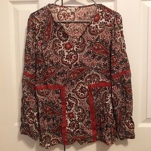 Red Patterned Cato Blouse